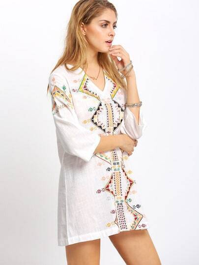 White Tribal Print Shift Dress
