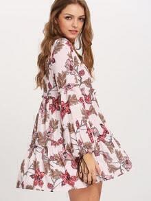 Pink Drop Waist Floral Dress