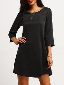 Black Strappy Back Shift Dress