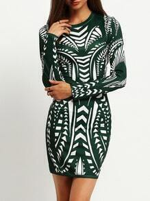 Green Crew Neck Tribal Print Sheath Dress