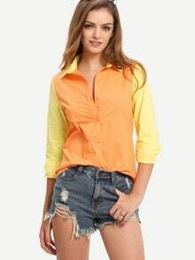 Orange Color Block Lapel Blouse