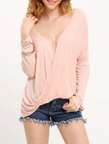 Pink Deep V Neck Wrap Front T-Shirt