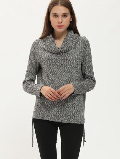 Jersey cuello de capucha suelta -gris
