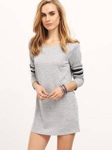 Grey Color Block Loose T-Shirt