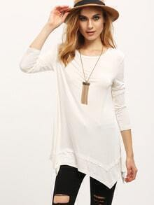 Beige Crew Neck Asymmetric T-Shirt