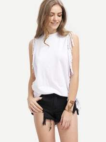 White Sleeveless Crew Neck Fringe T-Shirt