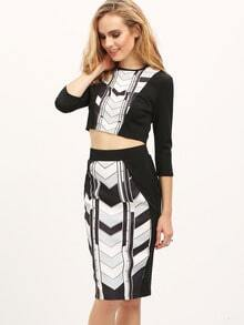 Black Color Block Crop Top With Sheath Skirt