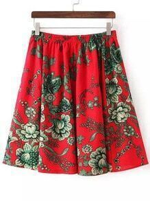 Red Elastic Waist Floral Skirt