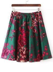 Multicolor Elastic Waist Floral Skirt