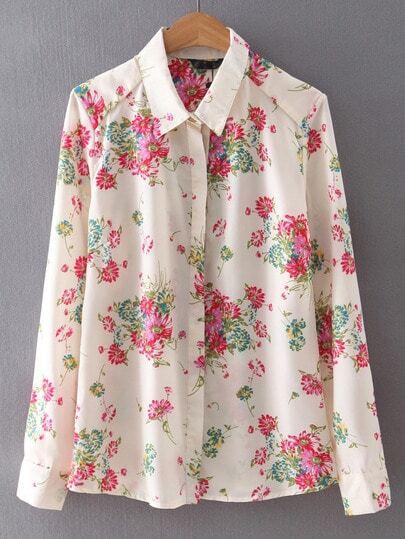 Multicolor Lapel Long Sleeve Floral Blouse