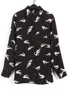 Black Lapel Long Sleeve Swallows Print Blouse
