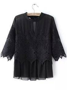 Black Crew Neck Sheer Lace Blouse