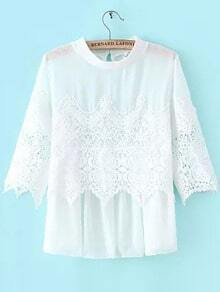 White Crew Neck Sheer Lace Blouse