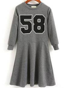 Grey Crew Neck 58 Print Dress