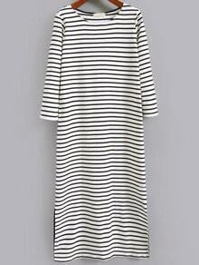White Black Round Neck Striped Split Dress
