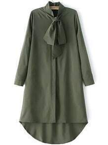 Army Green Knotted Collar Dip Hem Shirt Dress