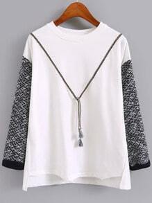 White Round Neck Contrast Sweater Sleeve T-Shirt