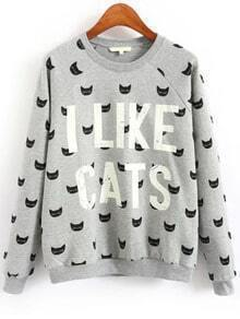 Grey Crew Neck Cats Letters Print Sweatshirt