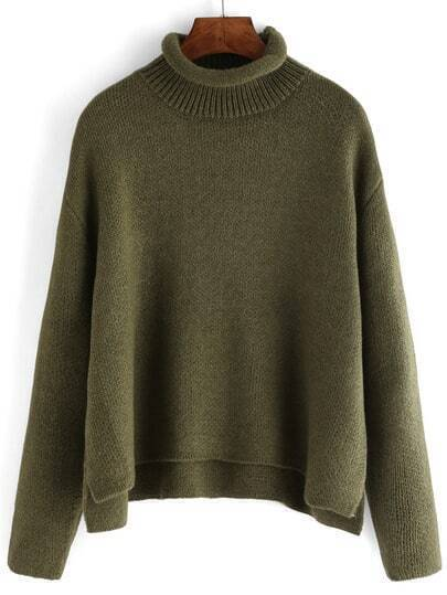 Green Turtle Neck Crop Loose Sweater
