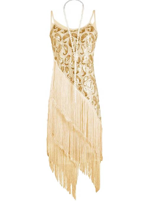 Apricot Spaghetti Strap Sequined Tassel Dress