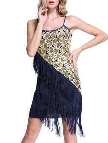 Blue Spaghetti Strap Sequined Tassel Dress