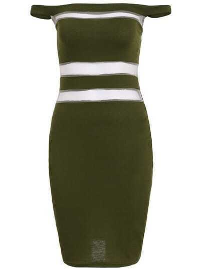 Green Off The Shoulder Sheer Mesh Bodycon Dress