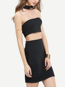 Black Halter Cut Out Bodycon Dress