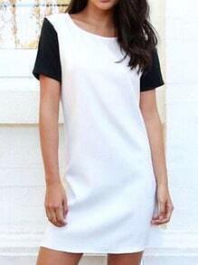 Colour-block Short Sleeve Loose Dress
