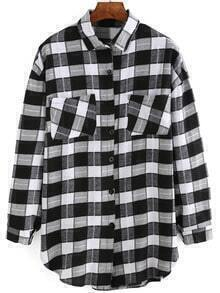 Black White Long Sleeve Plaid Pockets Blouse