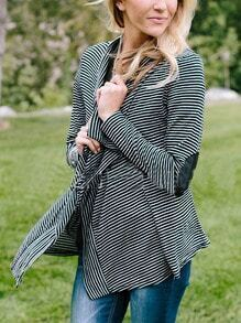 Black White Elbow Patch Striped Coat