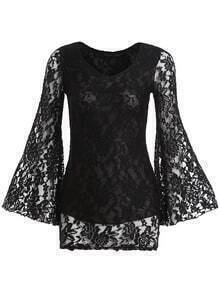 Black V Neck Bell Sleeve Bodycon Lace Dress
