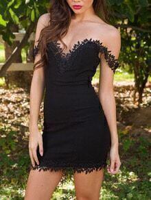 Black Sweetheart Neck Lace Slim Bodycon Dress
