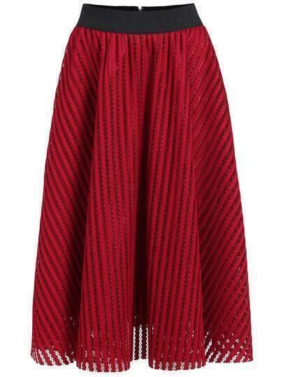 Red Hollow Vertical Stripe Skirt