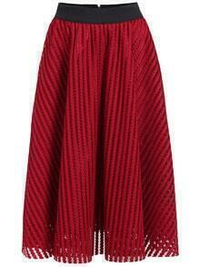 Red Hollow Vertical Stripe Skirt