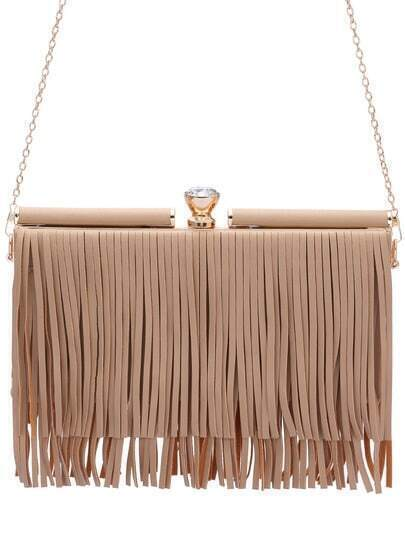 Apricot Diamond Chain Fringed Banquet Bag