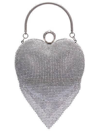Silver Rhinestone Heart Banquet Bag