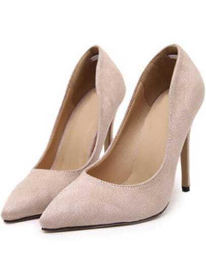 Nude Point Toe Suede High Stiletto Heel Pumps