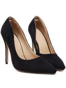 Black Point Toe Suede High Stiletto Heel Pumps