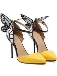 Yellow Point Toe Ankle Strap Butterfly Pumps