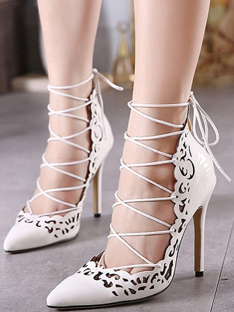 White Point Toe Cut-work Lace Up Pumps