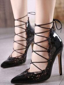 Black Point Toe Cut-work High Stiletto Heel Pumps