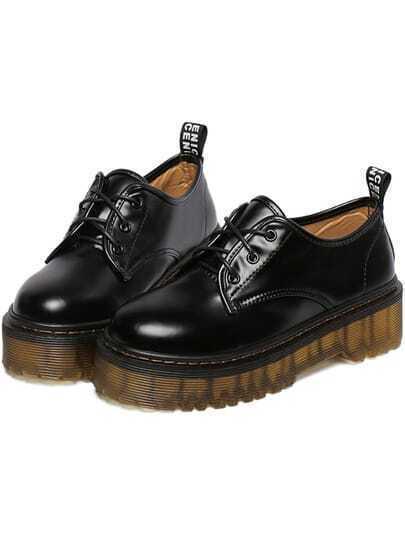 Chaussures à lacet bout rond -noir