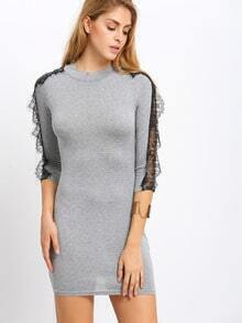 Grey High Neck Lace Insert Bodycon Dress