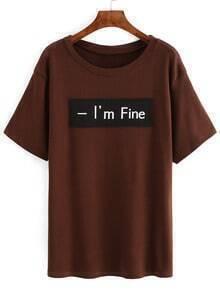 Khaki Letter Print Patch T-Shirt