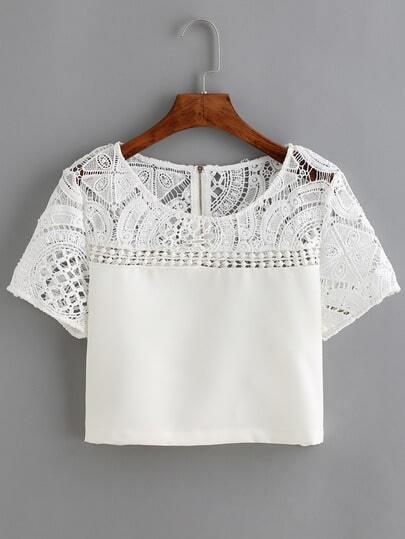 White Lace Crochet Crop Blouse