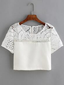 White Lace Crochet Crop T-Shirt