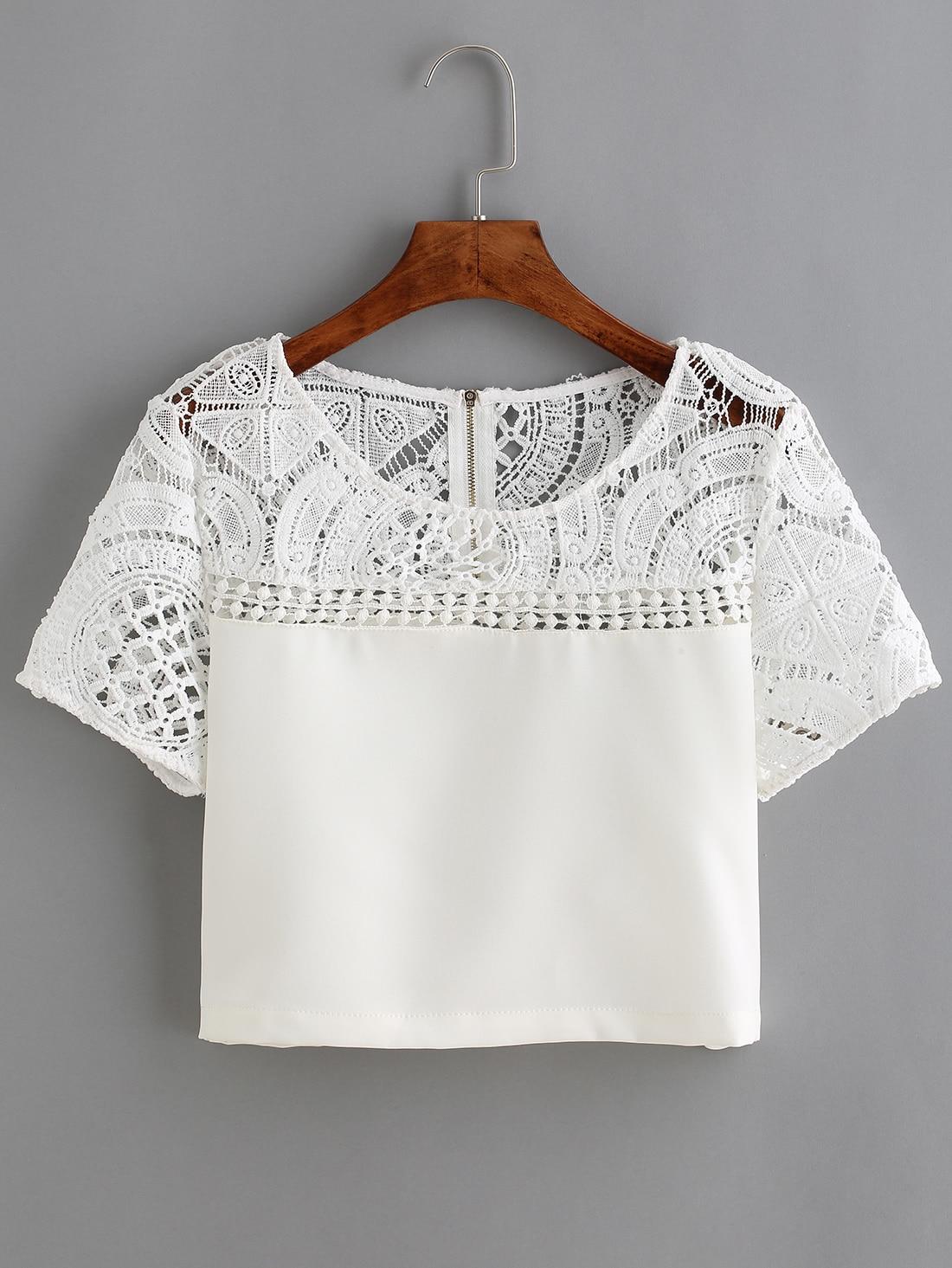 White Lace Crochet Crop Blouse -SheIn(Sheinside)