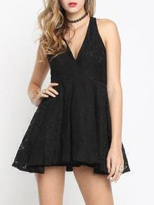Black Deep V Neck Open Back Lace Flare Dress