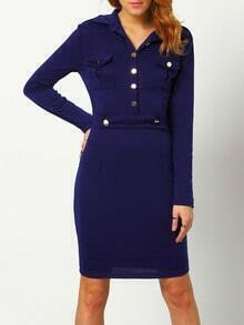 Blue Sheath Shirt Dress With Pockets