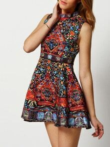Multicolor Mock Neck Aztec Print A-Line Dress